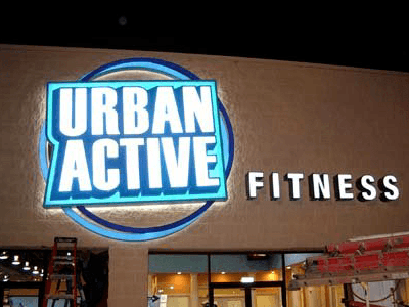 Urban Active Fitness Sign at Night