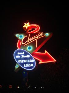 Chuy's Mexican Food Sign at Night